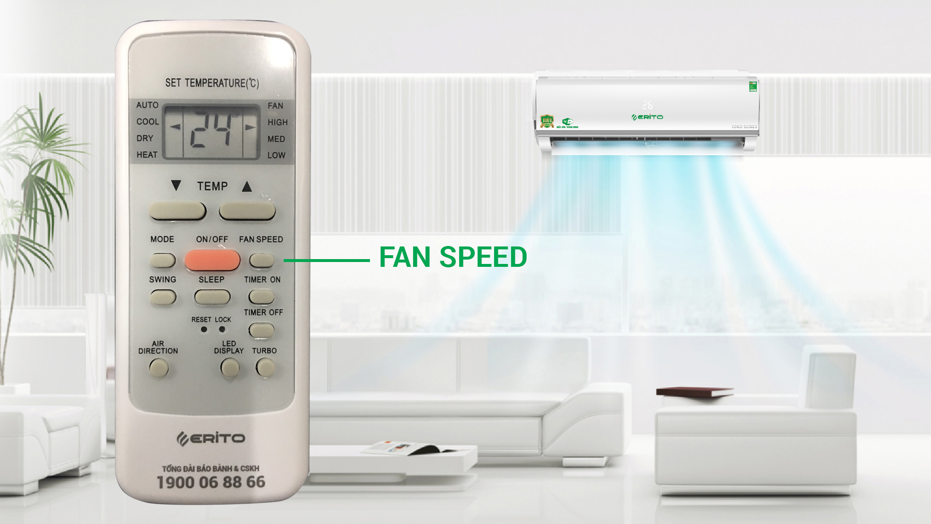 "NÚT ""FAN SPEED"" CỦA ĐIỀU HÒA ERITO"